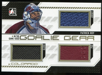 2013-14 In the Game ITG Used Goalie Gear Gold #GG10 Patrick Roy /10