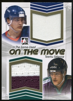 2013-14 In the Game ITG Used On the Move Jerseys Gold #OTM14 Teemu Selanne /10