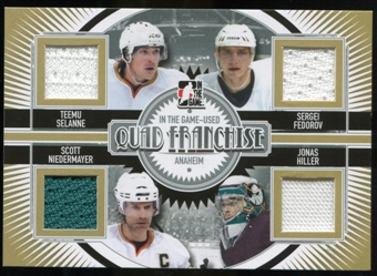 2013-14 In the Game ITG Used Quad Franchise Jerseys Silver #QF15 Teemu Selanne/Sergei Fedorov/Scott Niedermaye