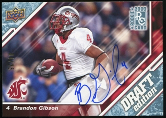 2009 Upper Deck Draft Edition Autographs Blue #88 Brandon Gibson Autograph /25