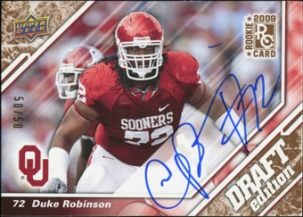 2009 Upper Deck Draft Edition Autographs Copper #39 Duke Robinson Autograph 50/50