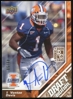 2009 Upper Deck Draft Edition Autographs Copper #73 Vontae Davis Autograph /50