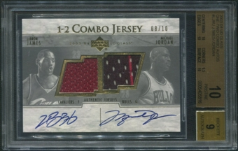 2003/04 UD Glass #LJMJ LeBron James Rookie & Michael Jordan One-Two Combo Jersey Auto #08/10 BGS 10