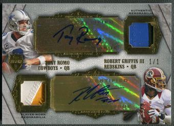 2012 Topps Supreme #SDARRG Tony Romo & Robert Griffin III Rookie Dual Patch Auto #1/1
