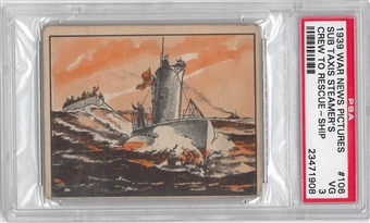 1939 Gum Inc. War News Pictures #106 Sub Taxis Steamer's Crew PSA 3 (VG) *1908