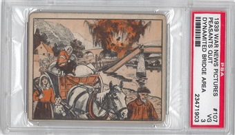 1939 Gum Inc. War News Pictures #107 Peasants Quit Dynamited PSA 3 (VG) *1903