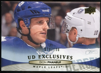 2011/12 Upper Deck Exclusives #20 Dion Phaneuf /100
