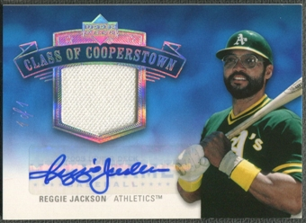 2005 Upper Deck Hall of Fame #RJ1 Reggie Jackson Class of Cooperstown Rainbow Jersey Auto #1/1