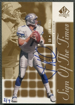 2000 SP Authentic #JK Jon Kitna Sign of the Times Gold Auto #2/7