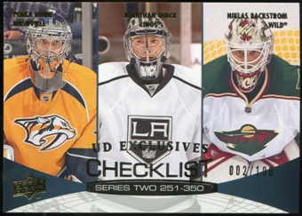 2011/12 Upper Deck Exclusives #449 Pekka Rinne/Jonathan Quick/Niklas Backstrom /100