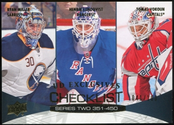2011/12 Upper Deck Exclusives #450 Ryan Miller/Henrik Lundqvist/Tomas Vokoun /100