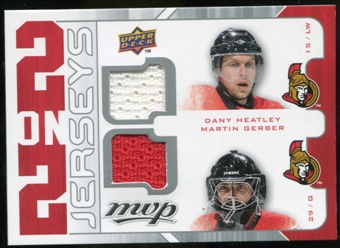 2008/09 Upper Deck MVP Two on Two Jerseys #J2THGS Dany Heatley/Martin Gerber/Alexander Steen/Vesa Toskala
