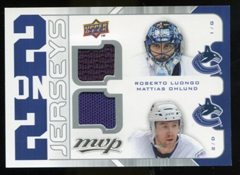 2008/09 Upper Deck MVP Two on Two Jerseys #J2LOHG Roberto Luongo/Mattias Ohlund/Sam Gagner/Shawn Horcoff