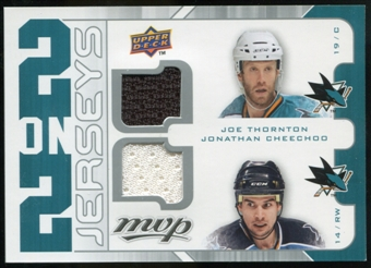 2008/09 Upper Deck MVP Two on Two Jerseys #J2MTNC Joe Thornton/Jonathan Cheechoo/Patrick Marleau/Evgeni Naboko