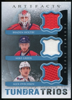 2013-14 Upper Deck Artifacts Tundra Trios Jerseys Blue #T3OGH Braden Holtby/Mike Green/Alexander Ovechkin D