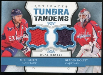 2013-14 Upper Deck Artifacts Tundra Tandems Jerseys Blue #TTGH Mike Green/Braden Holtby B