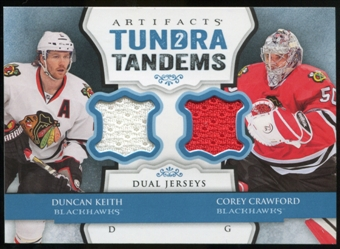 2013-14 Upper Deck Artifacts Tundra Tandems Jerseys Blue #TTKC Duncan Keith/Corey Crawford B