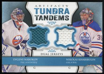 2013-14 Upper Deck Artifacts Tundra Tandems Jerseys Blue #TTNK Evgeni Nabokov/Nikolai Khabibulin B