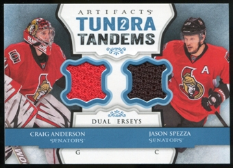 2013-14 Upper Deck Artifacts Tundra Tandems Jerseys Blue #TTSA Craig Anderson/Jason Spezza B