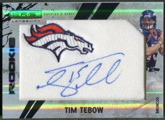 2010 Rookies and Stars Longevity #299 Tim Tebow Rookie Patch Auto #02/10