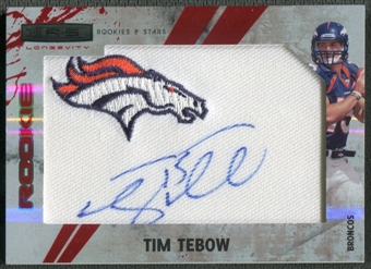 2010 Rookies and Stars Longevity #299 Tim Tebow Ruby Rookie Patch Auto #1/5