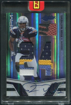 2010 Absolute Memorabilia #209 Ryan Mathews Rookie Premiere Materials Ball Patch Auto #1/1