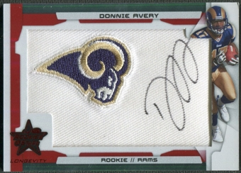 2008 Leaf Rookies and Stars Longevity #216 Donnie Avery Ruby Rookie Patch Auto #3/5