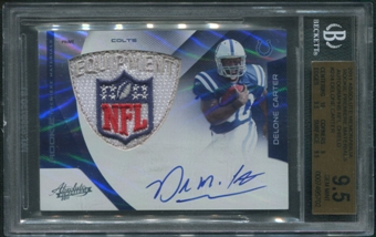 2011 Absolute Memorabilia #224 Delone Carter Rookie RPM NFL Shield Auto #1/1 BGS 9.5