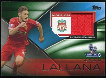 2014/15 Topps English Premier League Gold Football Fibers Relics Green #FFRALA Adam Lallana