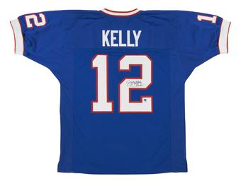 Jim Kelly Autographed Buffalo Bills HOF Blue Football Jersey