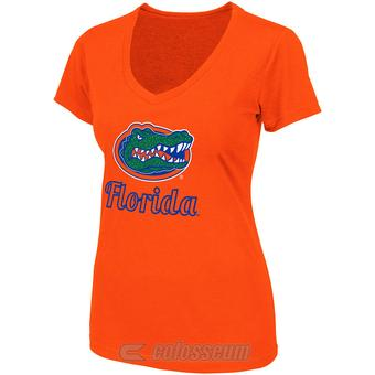 Florida Gators Colosseum Womens Orange Vegas V-Neck Tee Shirt (Womens M)