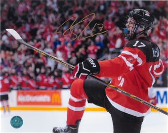 Connor McDavid Autographed Team Canada 8x10 Celebration Photo (AJ's COA)
