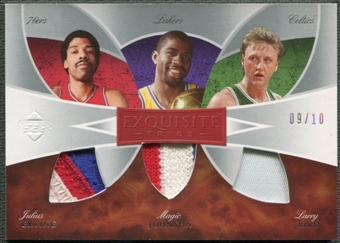 2006/07 Exquisite Collection #ETEJB Julius Erving Magic Johnson Larry Bird Trios Patch #09/10