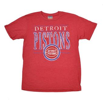Detroit Pistons Junk Food Heathered Red Vintage Dual Blend Tee Shirt (Adult S)