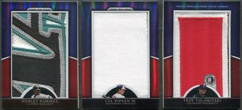 2010 Topps Triple Threads #JPC10 Hanley Ramirez Cal Ripken Jr. Troy Tulowitzki Jumbo Patch #1/1