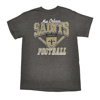 New Orleans Saints Junk Food Heather Charcoal Gridiron Tee Shirt (Adult S)