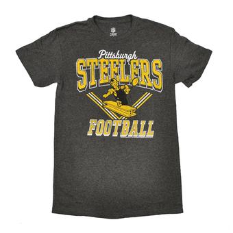 Pittsburgh Steelers Junk Food Heather Charcoal Grey Gridiron Tee (Adult S)