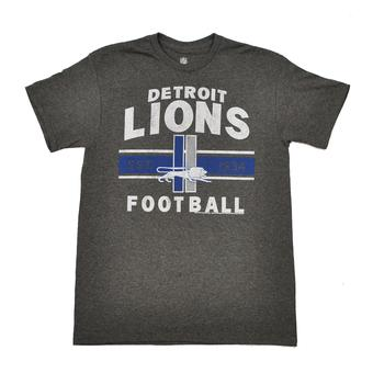 Detroit Lions Junk Food Charcoal Vintage Team Arch Dual Blend Tee Shirt (Adult S)