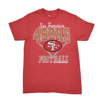 San Francisco 49ers Junk Food Heather Red Gridiron Tee Shirt (Adult L)