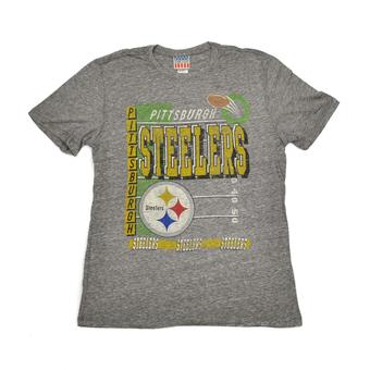 Pittsburgh Steelers Junk Food Gray Touchdown Tri-Blend Tee Shirt (Adult M)