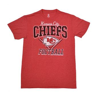 Kansas City Chiefs Junk Food Heather Red Gridiron Tee Shirt (Adult M)