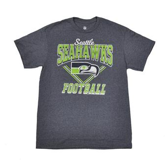 Seattle Seahawks Junk Food Heather Navy Gridiron Tee Shirt (Adult M)