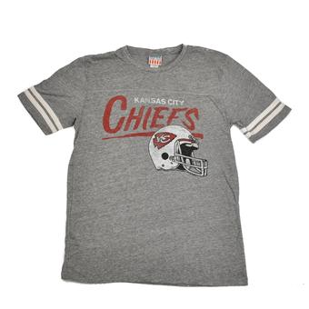 Kansas City Chiefs Junk Food Heather Gray Vintage Striped Tri Blend Tee Shirt (Adult M)