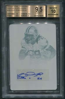 2013 Panini National Treasures #299 Khiry Robinson Rookie Printing Plate Black Auto #1/1 BGS 9.5
