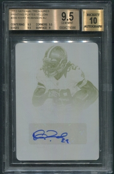 2013 Panini National Treasures #299 Khiry Robinson Rookie Printing Plate Yellow Auto #1/1 BGS 9.5