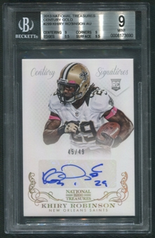 2013 Panini National Treasures #299 Khiry Robinson Rookie Century Gold Auto #45/49 BGS 9