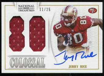 2013 Panini National Treasures Colossal Materials Signature Jersey Numbers #25 Jerry Rice 11/25