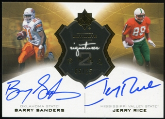 2013 Ultimate Collection Ultimate Signatures Duals #U2SSR Barry Sanders/Jerry Rice 5/15
