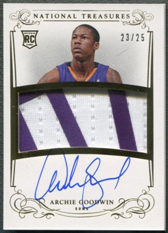 2013/14 Panini National Treasures #133 Archie Goodwin Gold Rookie Patch Auto #23/25