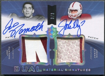 2013 Ultimate Collection #SJ2EN Joe Namath & John Elway Ultimate Signatures Dual Patch Auto #3/3